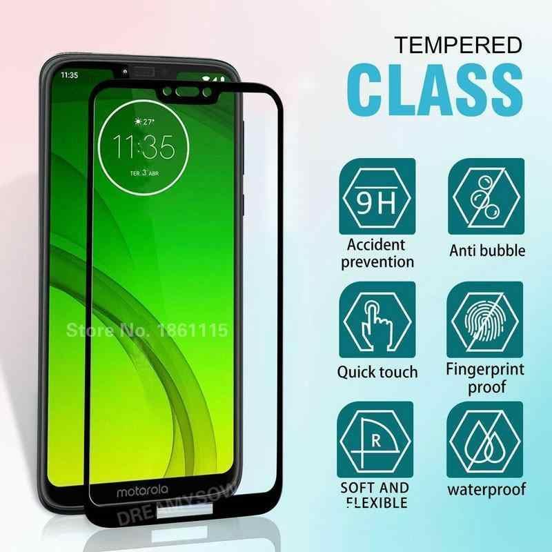 9H temperli cam moto G8 G7 artı oyun bir makro/aksiyon/ZOOM P40 P50 tam kapak cam moto g7 güç ekran koruyucu film