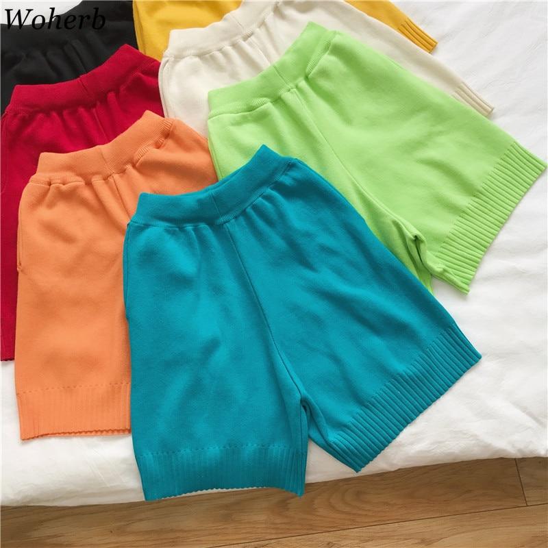 Woherb Knitted Shorts Women 2020 Korean Style Casual High Waist Short Pants Red Blue Black Short Feminino Sexy Shorts 23963