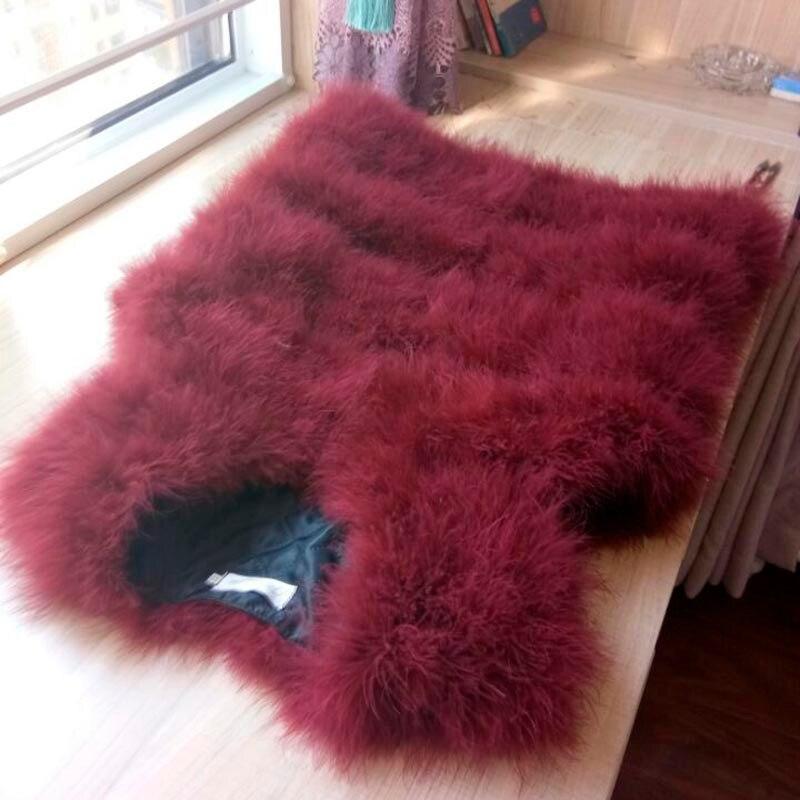 Новая мода женский зимний шифрование натуральные перья страуса индейка перо меховой жилет шуба горячая распродажа - Цвет: wine red