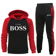 New Yes Boss Pullover Men Fashion Tracksuit Men Casual Sportswear Male Hoodies+Pants Sets Man Patchwork Hooded Sweatshirt Suits