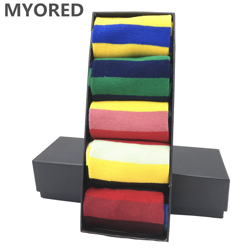 MYORED Drop Shipping 5pairs/lot Hot Sale Sokken Long Casual Business Wear Calcetines De Hombre Cuadrados