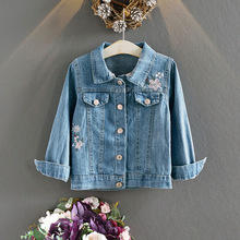 цена на 2019 Autumn Girls Denim Jacket Soft Embroidered Baby Denim Jacket Children's Tops 1030