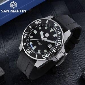 Image 2 - סן מרטין Diver NH35 ספיר קריסטל גברים אוטומטי מכאני שעונים 120 קליקים קרמיקה לוח 30Bar BGW9 זוהר תאריך חלון