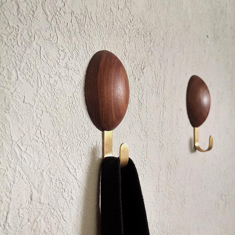 Креатив ключ держатель стена крючок твердая древесина липучка крючок скандинавский простой латунь крючок спальня пальто крючок