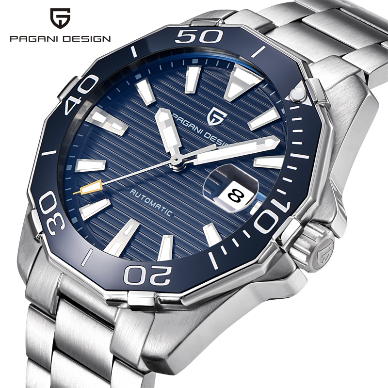 PAGANI DESIGN Automatic Watch 1617 Men's Military Sport Mechanical Watches Waterproof Stainless Steel Top Brand Luxury Men Watch