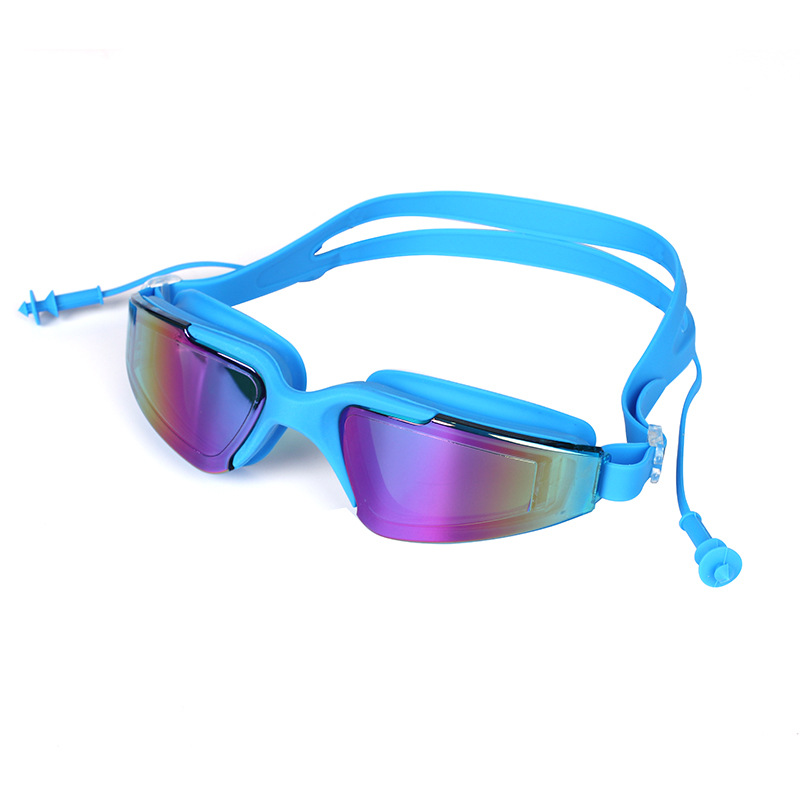 Swiss And Goggles Men And Women High-definition Myopia Waterproof Anti-fog Swimming Glasses Big Box Electroplated One-piece Earp