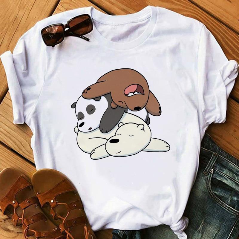 T-shirt Tops Women Graphic T-shirt Cute Bear Funny T-shirts Women Clothing Cartoon Animal Printed T-shirt Plus Size Women Shirts