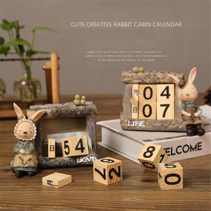 1PC Cartoon Resin+Wooden Miss/Mr. Rabbit Calendar Creative Portable Table Calendars For Living Room Calendar Crafts Decoration
