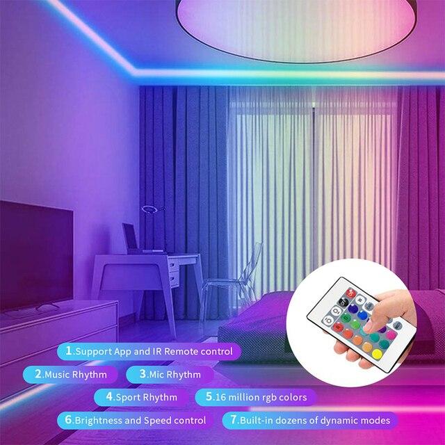 Bande de LED lumières 6.6ft TV rétro-éclairage RGB bande USB alimenté pour 32-60 TV salon décor PC moniteur avec 24 touches IR contrôle