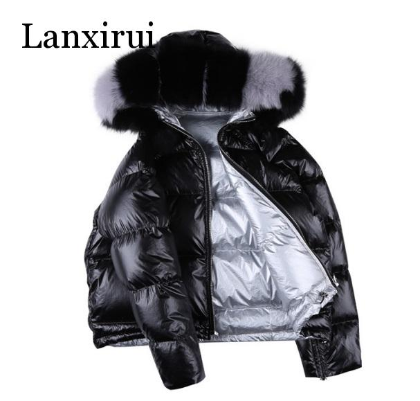 Golden Zipper Down Jackets Women Fashion Reversible Down Coats Women Elegant Short Down Winter Jackets Female Ladies