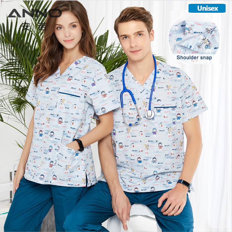 ANNO Hospital Scrubs Set Nursing Uniform For Male Female Medical Supplies Dental Clinic Nurse Scrubs Women SPA Uniforms