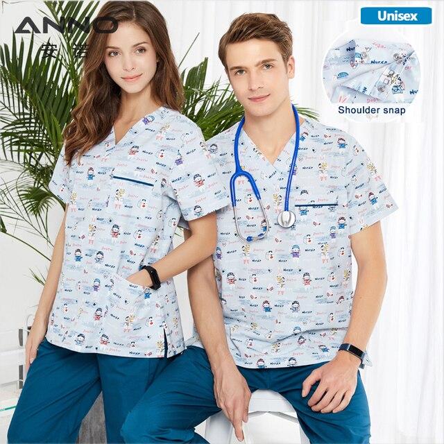 ANNO Krankenhaus scrubs Set Pflege Einheitliche für Männlich weibliche Liefert Dental Klinik Krankenschwester Scrubs Frauen SPA Uniformen