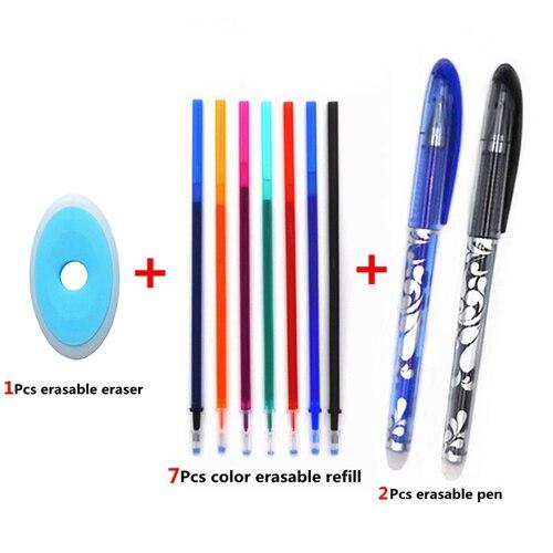 Erasable Pen Set 0.5mm Blue Black Color Ink Writing Gel Pens Washable handle for School Office Stationery Supplies 5