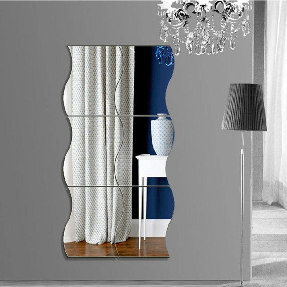 6Pcs 3D Mirror Wall Stickers Wave Acrylic Decorative Wall Mirrors for Makeup Bathroom Living Room Mural Chambre Home Decor