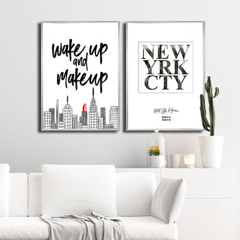 Wake Up and Make Up Letter Canvas Painting New York City Latitude and Longitude Poster Wall Art Print Quotes Picture for Room image