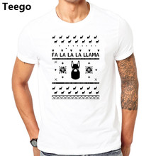 A t shirt llama christmas sweater 2017 cool tee shirt for guys t-shirt for male cotton clothing hip(China)