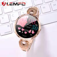 LEMFO All Alloy inteligentny zegarek kobiety tętno monitor ciśnienia krwi wodoodporny inteligentny zegarek prezent Smartwatch kobiety android ios