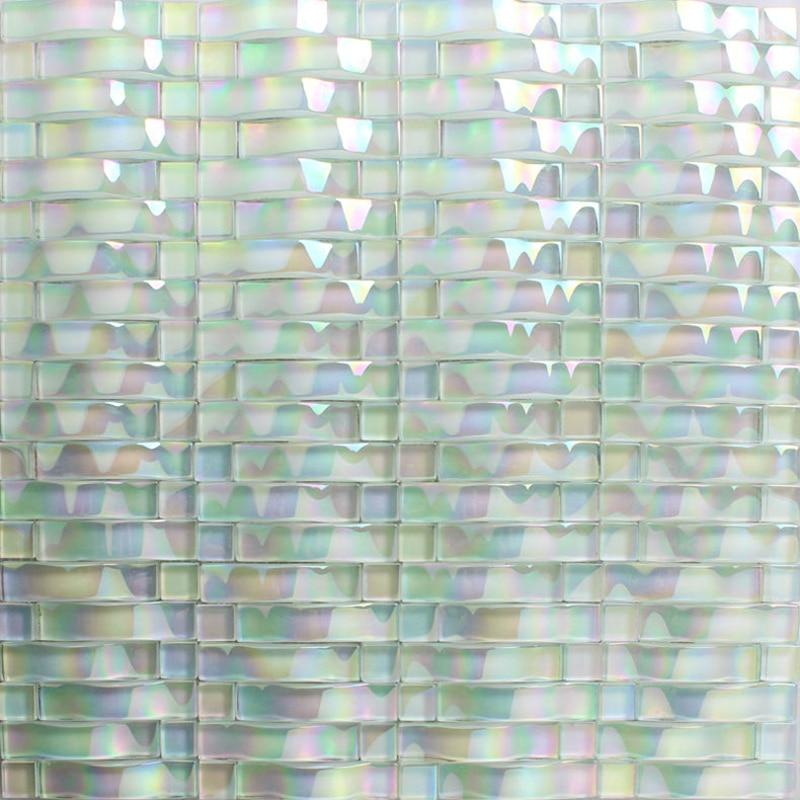 3d pearl white iridescent crystal glass mosaic tile for kitchen backsplash bathroom shower room diy showroom wall decoration