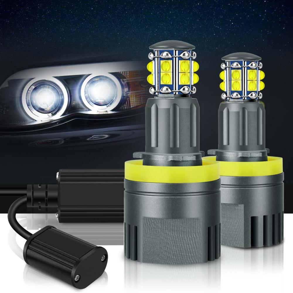 2Pcs LED Angel Eyes Lights Canbus For BMW E60 E61 E63 X5 E70 X6 E71 E90 E91 E92 E93 M3 E89 E82 E87 H8 LED Headlight 6000K White