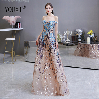 Sexy Sweetheart Evening Dresses 2020 Off the shoulder A-Line Colorful Sequin Formal Dress Long Prom Gowns - discount item  48% OFF Special Occasion Dresses