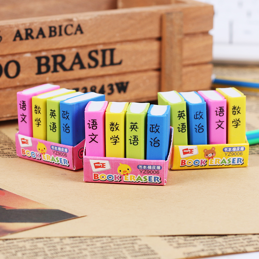 4 Pcs/pack Creative Book Style Pencil Eraser Kid Stationery School Office Supply Children Education Gift Prize