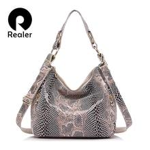 REALER woman handbags genuine leather totes female classic serpentine prints shoulder crossbody bags ladies school messenger bag