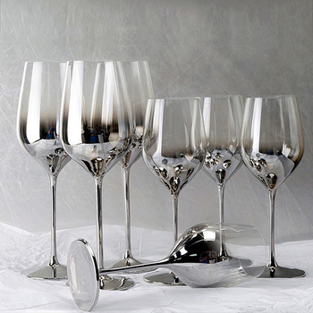 High quality Electroplate gray wine glass Set 1