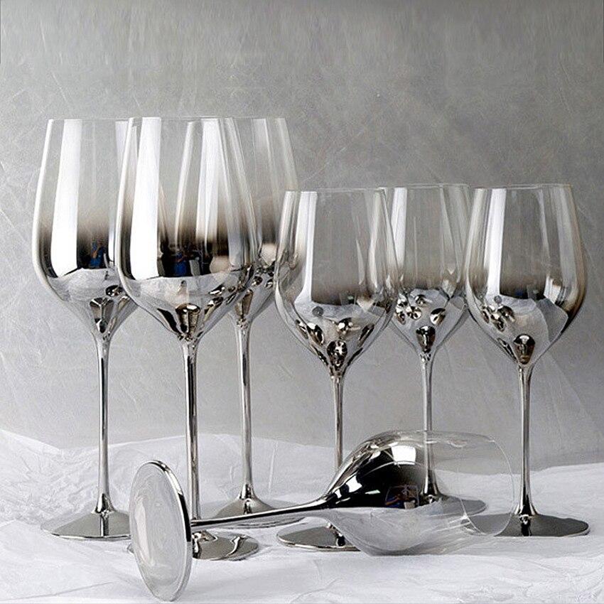 Haute qualité galvanoplastie rouge vin verre tasse gris gobelet verre tasses cristal champagne verres hôtel fête drinkware cadeau de mariage