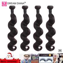 "DreamDiana גוף גל 1/3/4 חבילות 10 "" 30"" ברזילאי שיער חבילות צבע טבעי רמי אריגת 100% שיער טבעי הרחבות M יחס"