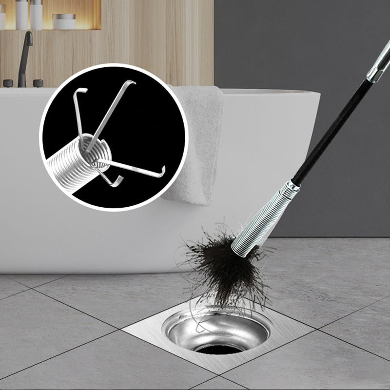 Herramienta de dragado de tuberías, Clip Flexible para desechos de cabello, desagües de lavabo, huecos de alcantarillado limpios, Flexible, recolector de 60CM, limpiador de tubos de baño
