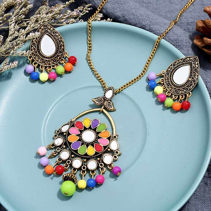 Free Shipping New Women Vintage Retro Silver-color African Colorful Stones Wedding Jewelry Necklace Earrings Sets Best Gift