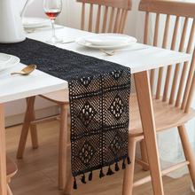 Camino de mesa de boda hueco de ganchillo de Encaje Vintage, mantel con borde de borla, mantel nórdico romántico, camino de mesa, corredores de cama de café