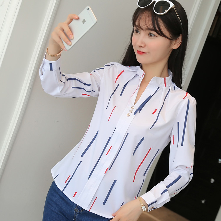 Hd0584ae540ed4d05848a358e02217f5dp - Women Fashion White Tops and Blouses Stripe Print Design Casual Long Sleeve Office Lady Work Formal Shirts Female Plus Size