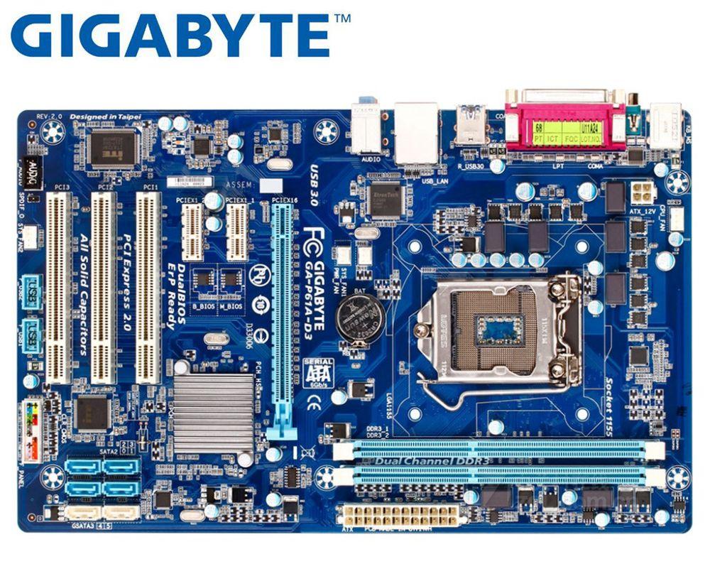 Gigabyte GA-P61A-D3 Original Motherboard DDR3 LGA 1155 Boards P61A-D3 16GB Usb3.0 H61 Used Desktop Motherboard On Sales