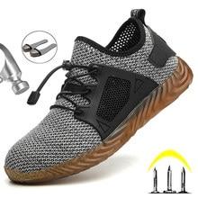 Trabalho de dropshipping & botas de segurança homem sapatos de dedo do pé de aço sapatos de segurança à prova de punção tênis de trabalho respirável sapatos de trabalho masculino