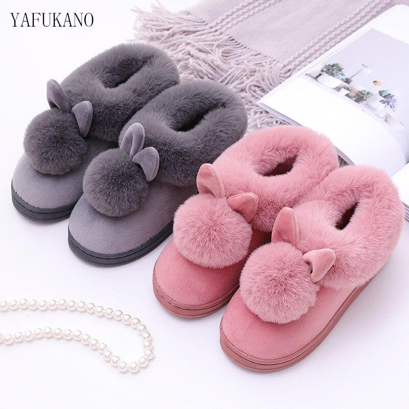Mulheres botas de inverno adorável orelhas de coelho macio algodão quente sapatos botas de neve botas de inverno casual indoor ao ar livre botas mujer