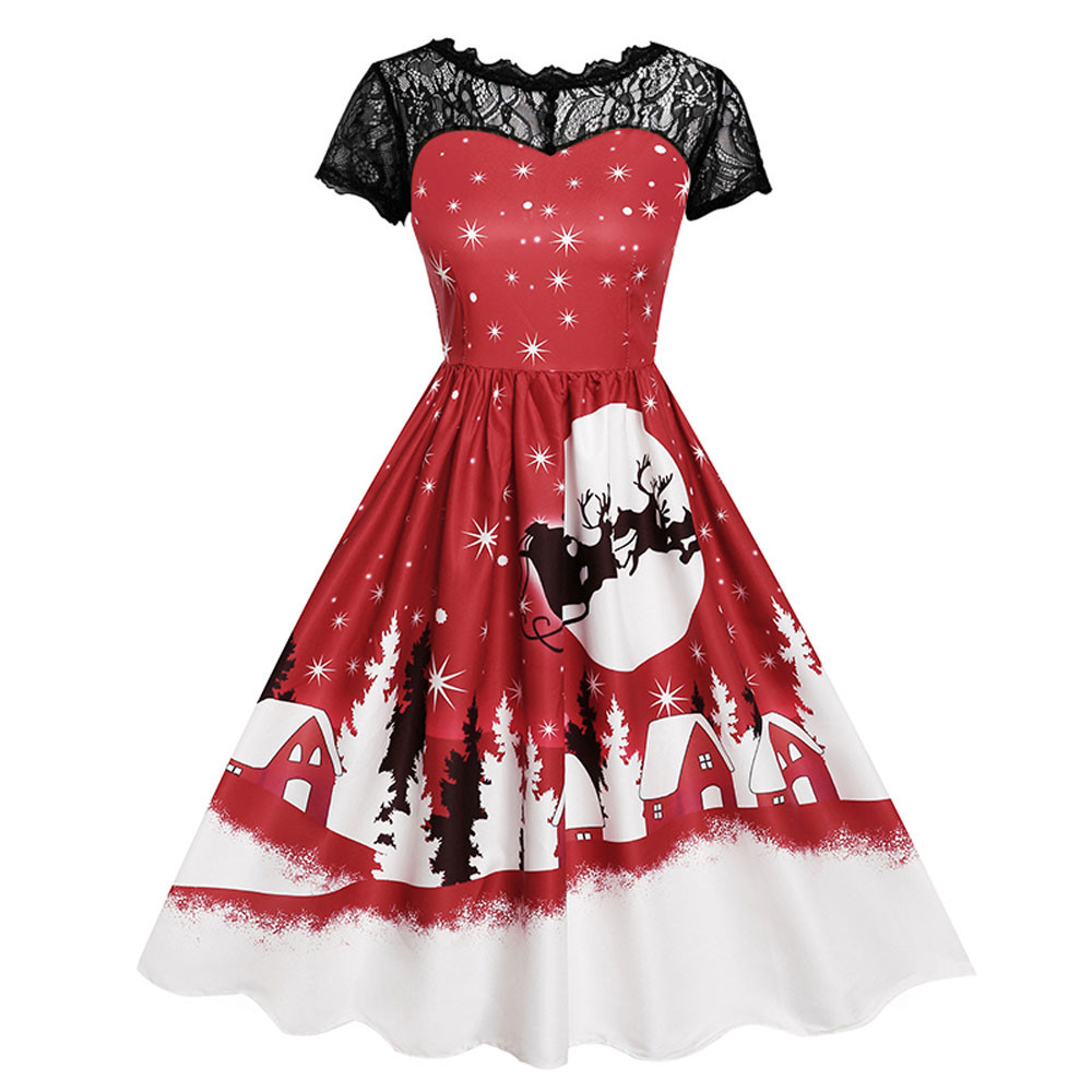 Women Dress Vintage Women's Vintage Lace Short Sleeve Print Christmas Party Swing Dress Casual Evening Party Dresses