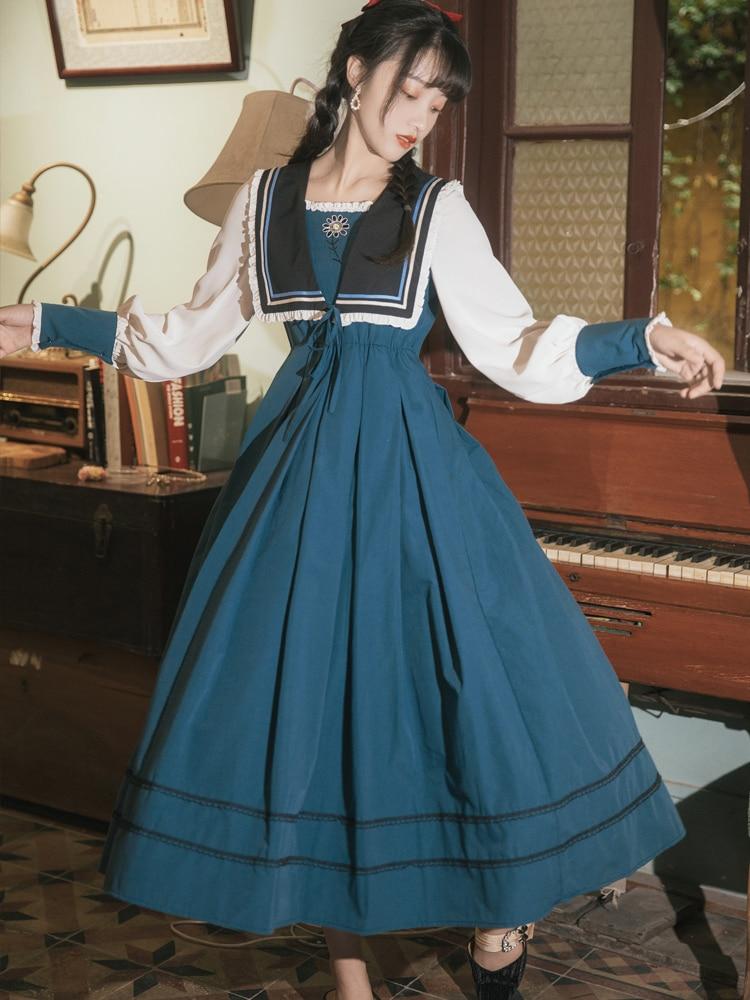 Винтажное платье принцессы макси платья для женщин с высокой талией квадратный воротник темно-синего цвета, элегантное вечернее платье вечерние платья Vestidos De Mujer; Большие размеры
