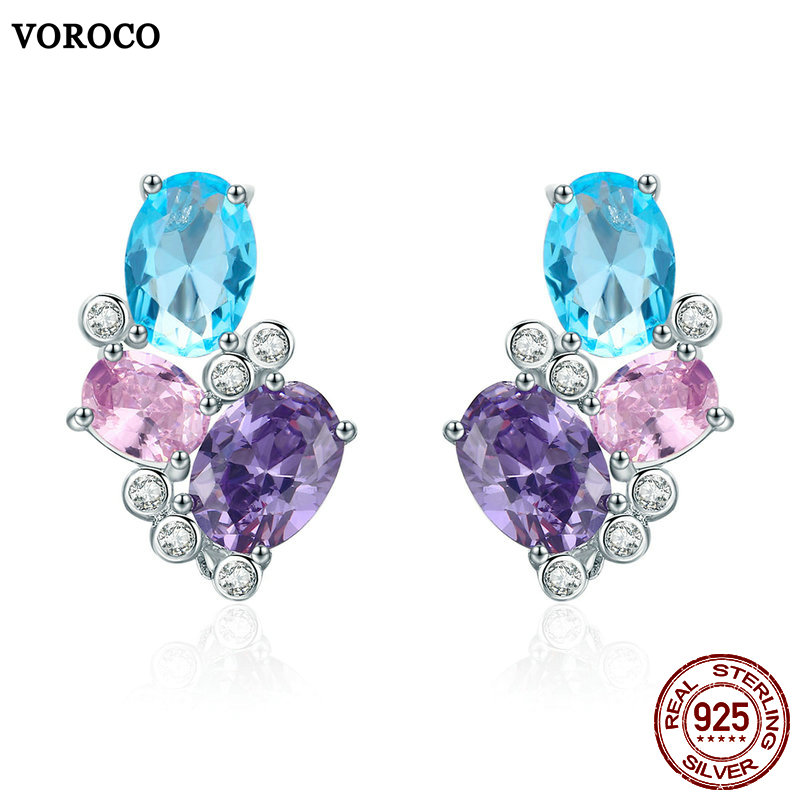 VOROCO Stud-Earrings 925-Jewelry 925-Sterling-Silver Women Wedding for 100%Real Multi-Color
