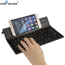 цена на XIN-MUM Portable Folding Keyboard Case Cover Touchpad Keypad Foldable Bluetooth Keyboard BT Wireless for IOS/Android/Windows