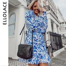 Ellolace Flower Print Dress Women Bodycon Backless Party Long Sleeve Elegant Dresses Streetwear 2019 Slim New Clothing