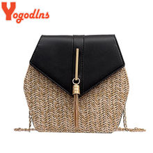 Yogodlns Handmade Weaving Straw Bags for Women Tassel Messenger Bag Pu Leather Hexagon Patchwork Chains Shoulder Clutch Handbags(China)
