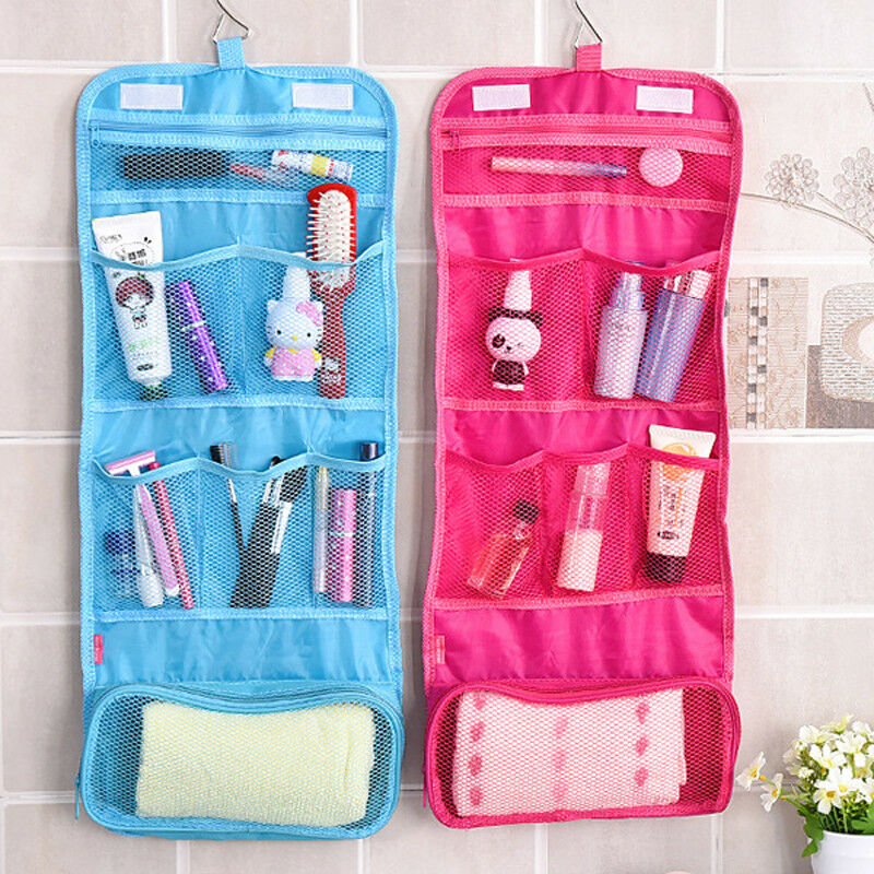 2019 Travel Cosmetic Bag Solid Makeup Bag Hook Toiletry Case Wash Organizer Storage Hanging Pouch