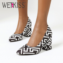 WETKISS Spring Women Pumps Pointed Toe Geometric Print Slip On Thick High Heels