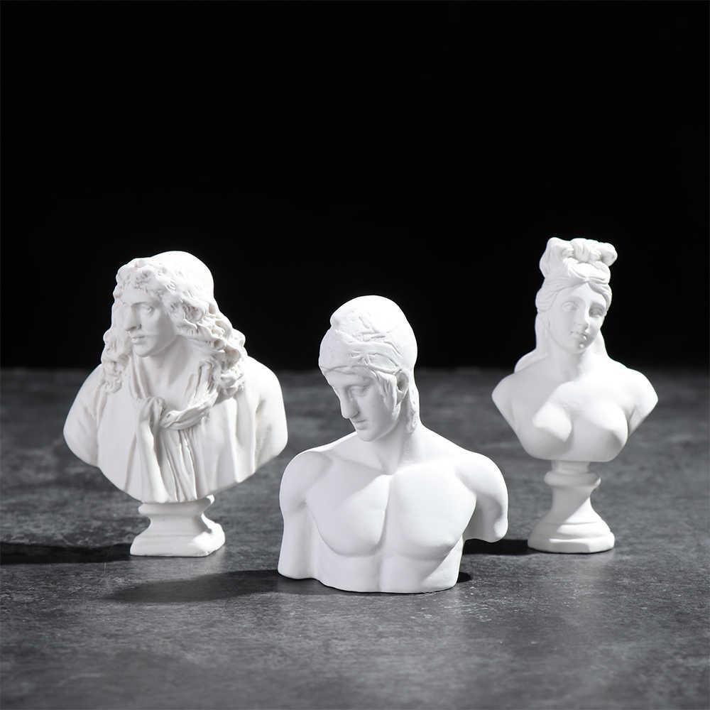 1Pc יווני מיתולוגיה צלמית דוד ראש דיוקנאות חזה מיני גבס פסל ציור בפועל מלאכות טיח פיסול עיצוב נורדי