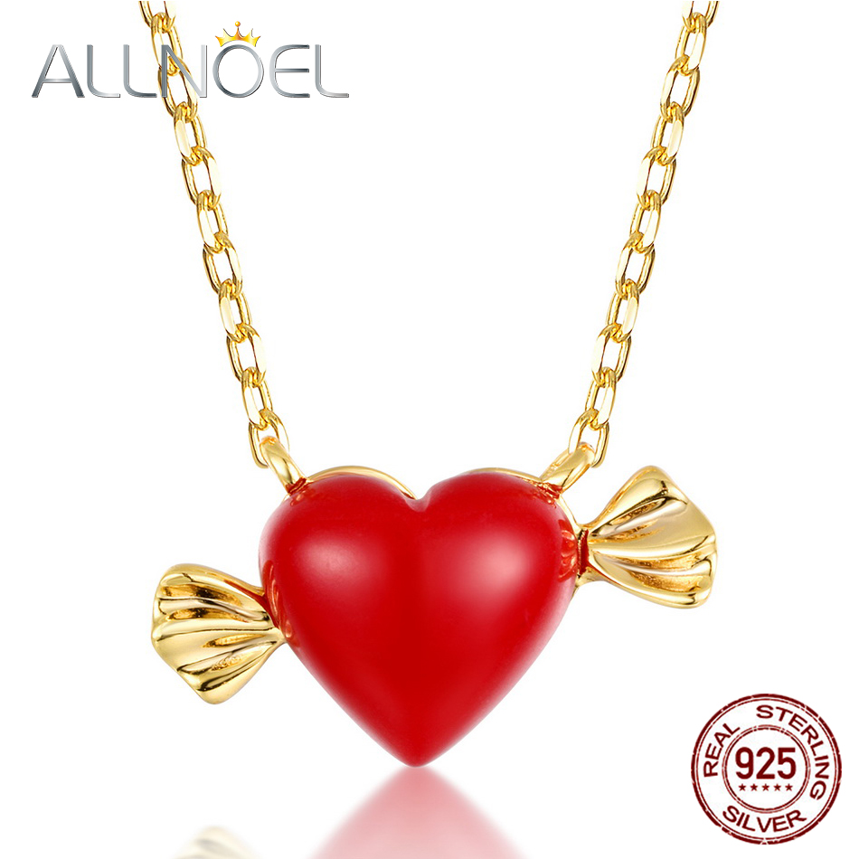 ALLNOEL Real 925 Sterling Silver 9K Gold synthetic coral Heart Pendant Necklaces Jewelry Gift For Women Fine Jewelry 2019 NEW  (1)