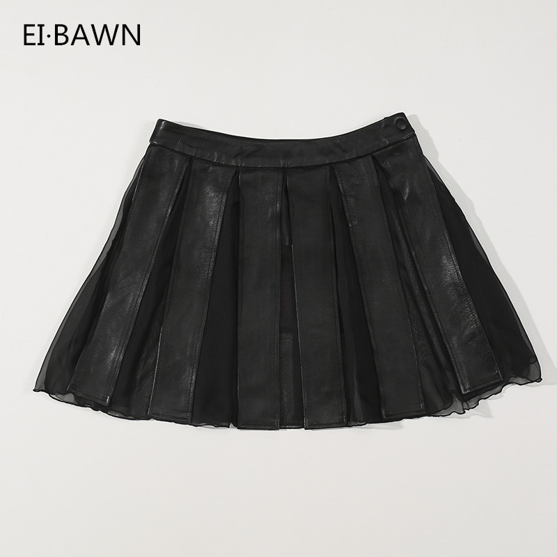 2019 Genuine Leather Skirts Women Lace Vintage Skirt Black Folded A Line Skater Mini Skirt Sexy Sheepskin Leather Skirts Ladies
