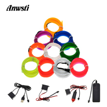 3V 5V 12V EL Wire Light 1M 2M 3M 4M 5M Neon LED Dance Party Decor Car Lights Sewing Edge Lamp Flex Strip