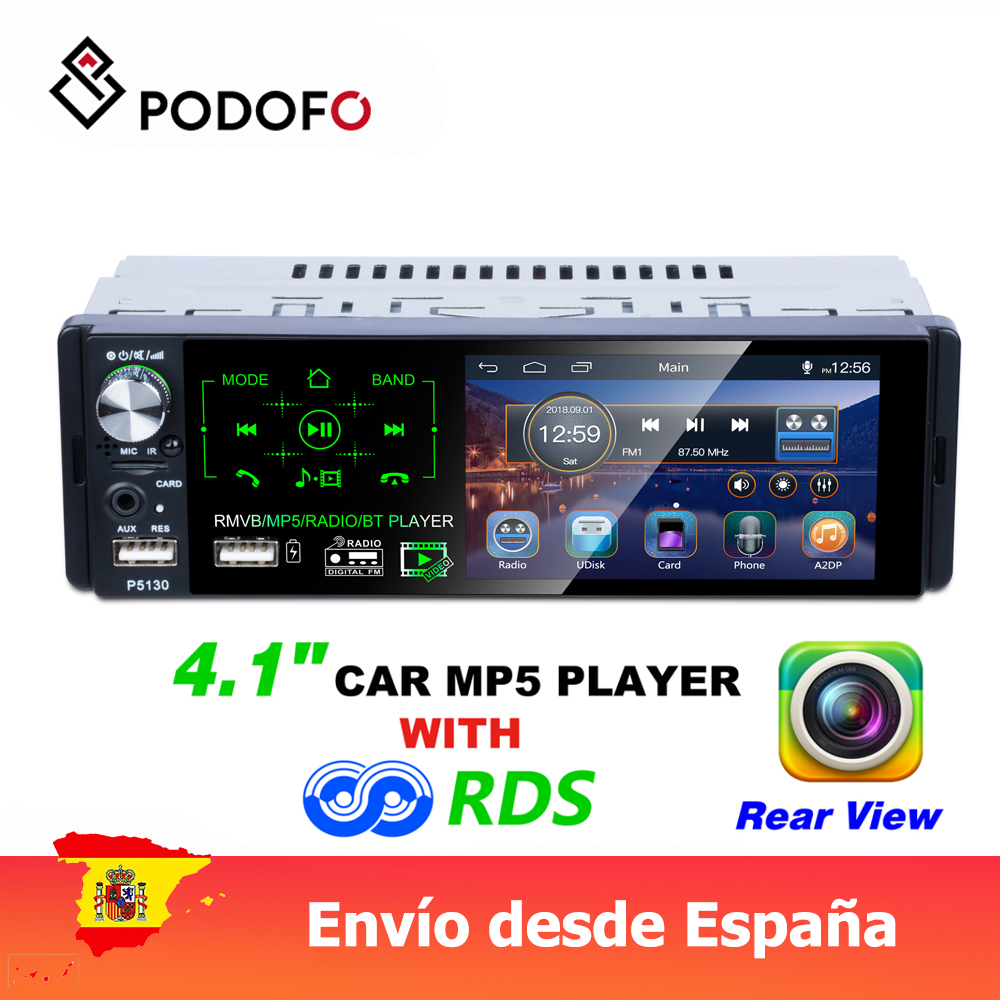 Podofo 1 Din Car Multimedia Player 4.1'' Inch MP5 Player Touch HD Capacitive Screen Car Single Set MP5 P5130 FM AM RDS