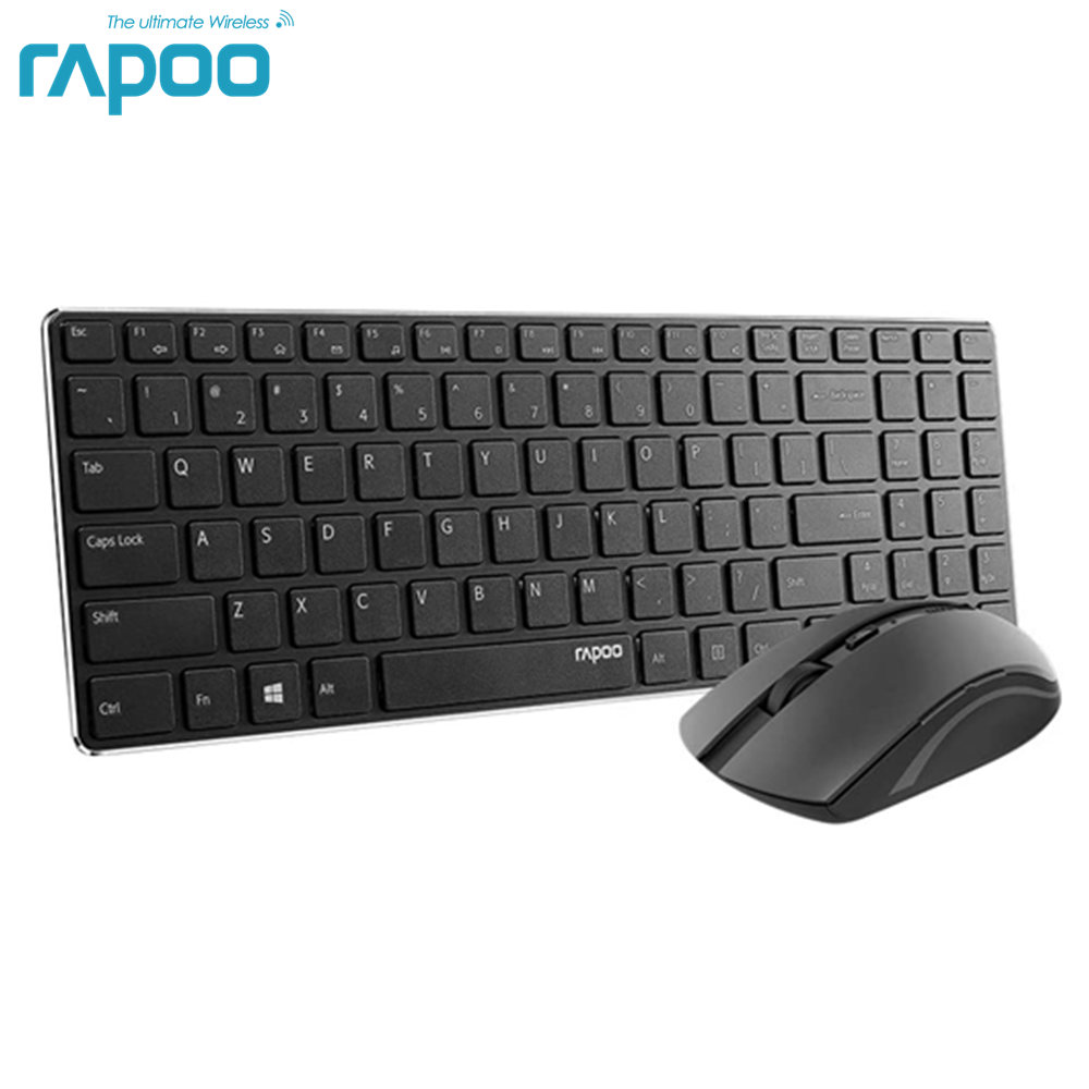 Rapoo Wireless Slim Keyboard and Mouse Combo, Ultra-Thin Lightweight, Comfortable Silent Keyboards, 2.4G 1000 DPI Smooth Portabl